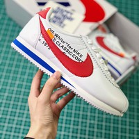 Off White X Nike Classic Cortez Leather White Red Sport Running Shoes - Sale