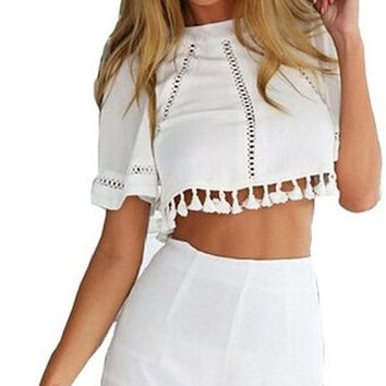 Women's Casual Loose T-shirt Top and Short 2 Piece Tassel Playsuit Set