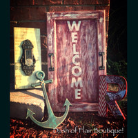 Welcome Sign- Rustic Outdoor Welcome Sign- Primitive Decor- Primitive Outdoor Welcome Sign