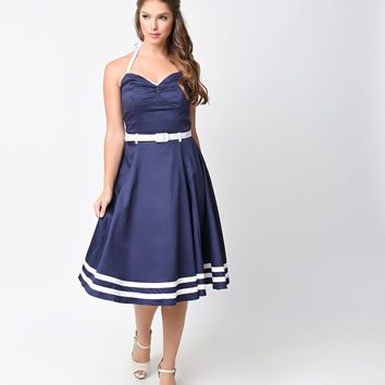 Collectif 1950s Style Navy Halter Sailor Ginger Swing Dress