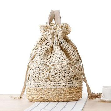University College Backpack ping 2018 Women Summer  style handmade crochet shoulder bag Bohemia straw bag woven bag casual sAT_63_4