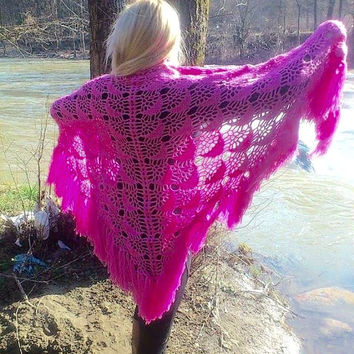 Crochet Lace Shawl Wrap-Pink Crochet Shawl-Women's Clothing-Long Fringe Triangle Shawl-Bridal Lace Shawl