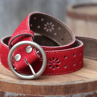 FREE SHIPPING - Leather Belt - Women's Leather Belt - in RED
