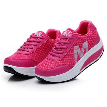 Slimming Shoes Women Summer Breathable Mesh Sports Shoes Female Fitness Swing Platform Wedge Shoes Lady Lose Weight Sneakers