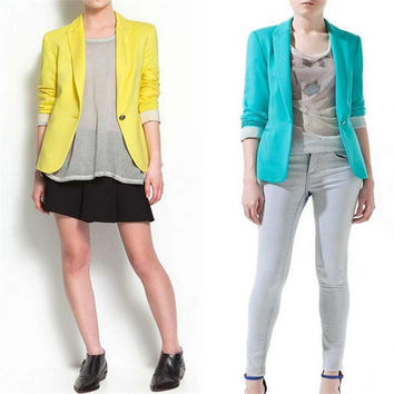 Hot Blazer Women New 2016 Candy Color Jackets Suit Slim yards Ladies Blazers Work Wear Jacket