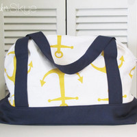 Yellow, Navy and White Weekender - Nautical Anchor - Diaper Bag - Overnight Bag - Summer Weekend Bag