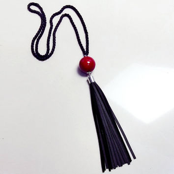 Red Beads ball pendant Necklaces leather Tassel Statement Necklace For Women Collar Jewelry S Long black chain Necklace SM6