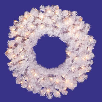 Crystal White Artificial Christmas Wreath - 110 Branch Tips