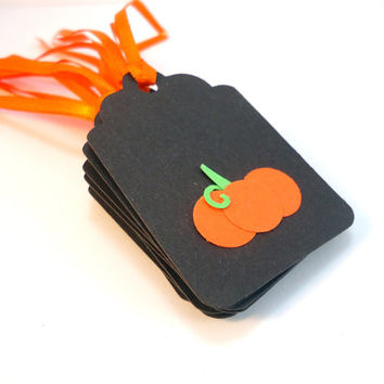 Halloween tags, pumpkin tags, happy halloween gift tags, trick or treat tags, black orange pumpkin, favor tags, goodie bag tags, set of 8