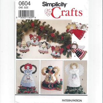 Simplicity 0604 Pattern for Christmas Angel Tree Topper, Standing Angel, Ornaments, From 1991, FACTORY FOLDED & UNCUT, Vintage Pattern, Home
