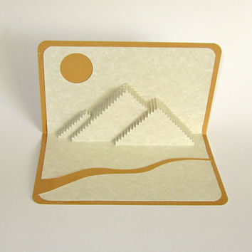 The PYRAMIDS of GIZA Pop Up 3D CARD Home Décor Origamic Architecture Hand Cut in Beige on Shimmery Gold. Folds Flat. Unique Impressive Gift