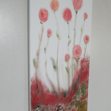 Original Oil Painting Abstract Painting Wall Art Original Art Landscape Art Canvas Art Flower Painting Roses Rose Art 12 x 24 Blooming Field