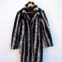 SALE Vintage Faux Fur 70's BOHO Coat Women's 90s Grunge Vegan Fur Coat Ambrosia Coat Striped Trench 70s NYC Designer