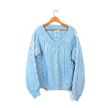 Chunky Knit Baby Blue Fishermans Sweater 50s Thick Hand Knit Oversized Pullover Vneck Handwoven Fishermen Sweater Womens Medium Large