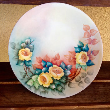 Limoges France Vintage Plate Yellow Roses ~ Limoges Porcelain Plate ~ Antique Limoges China Plate ~ Vintage Plate ~ Vintage China