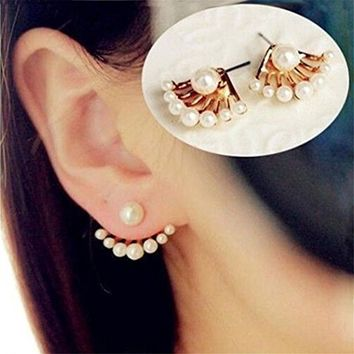 1Pair Women Lovely Crystal Earrings Pearl Ear Stud Front and Back Earbob