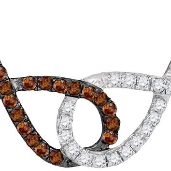 10kt White Gold Womens Round Cognac-brown Color Enhanced Diamond Double Linked Infinity Pendant Necklace 1/3 Cttw