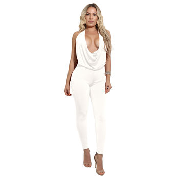 Plain Color Halter Neck Backless Jumpsuit