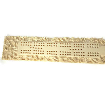 1880 Ivory Stone Cribbage Board with Carved Lotus Flower Decoration, signed Japanese