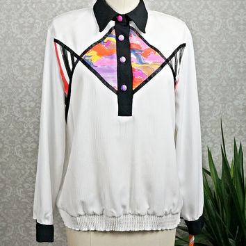 Vintage 1980s Abstract + Long Sleeve Blouse