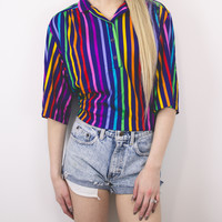 Vintage Colorful Rainbow Striped Blouse