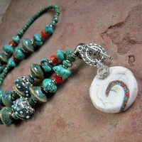 Turquoise Necklace, Boho Luxe, Earthy Elegance, Southwest Colors, Cultural Fusion by Elksong Jewelry