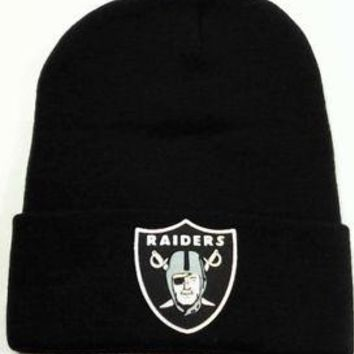 Raiders KNIT BEANIE HAT BLACK NFL Los Angeles Raiders Black Script Retro Snapback Cap