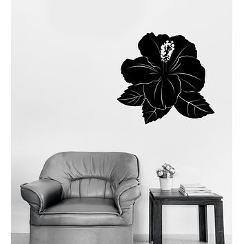 Vinyl Decal Wall Sticker Hibiscus Flower Bud and Leaves Decor Unique Gift (n1287)