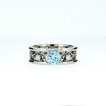 Wide Sky blue topaz and diamond filigree engagement ring, filigree ring, topaz wedding, unique, diamond ring, white gold, custom, light blue