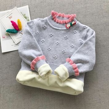 newborns baby Girls clothes winter pullover velvet knitting coats sweaters child baby wear warm clothing tops T shirts sweaters
