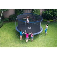 Kids Enclosed 14' Outdoor Trampoline with Safety Net & Electronic Shooter Game