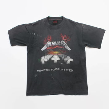 Vintage 80s METALLICA T-SHIRT / 1980s Master of Puppets Black Distressed Concert Tour Tee Shirt Tshirt