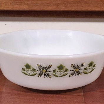 "Vintage Anchor Hocking Fire King 1 Quarte Casserole Dish ""Meadow Green"" / Retro Fire King Casserole Dish / Retro Meadow Green"