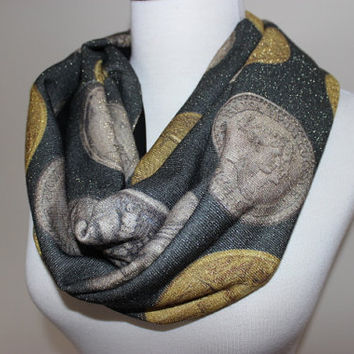 Grey Gold Shiny Scarf, Old Coin Print Scarf Coin Pattern Scarf, Coin Circle Scarf, Women Loop Scarf, Roman Coins Scarf, Money Print Scarves