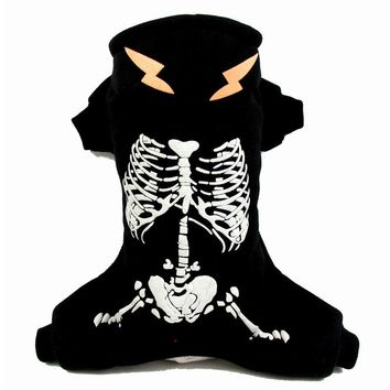 Pet Halloween Skeleton Costume Cosplay horror Luminous Turned equipment Puppy Dog Cat coat Clothes Dress Sweater