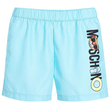 Moschino Boys Sky Blue Logo Swim Shorts