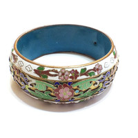 Vintage Cloisonne Bracelet, Bangle, Chinese Export, Champleve Enamel, 1920s to 1940s