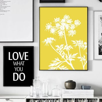 Botanical Wall Art Print, Nordic Design, White and Yellow Grass, Yellow Prints, Botanical Print, Plants Print, Scandinavian, Affiche Jaune