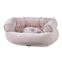 MicroVelvet Double Donut Bolstered Dog Bed — Blush