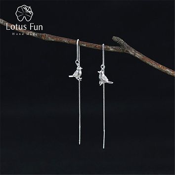 Lotus Fun Real 925 Sterling Silver Natural Original Handmade Fine Jewelry Interesting Cute Bird Drop Earrings for Women Brincos
