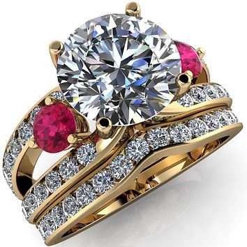 Orion Round Moissanite 2 Round Ruby Sides Split Shank Diamond Channel Set Ring