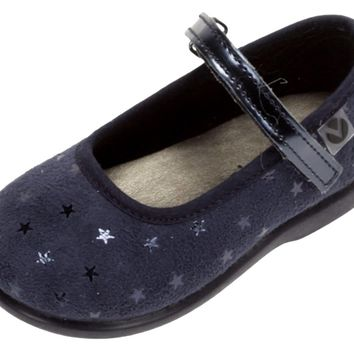 Victoria Alba Star Velvet Mary Jane Navy for Girl's
