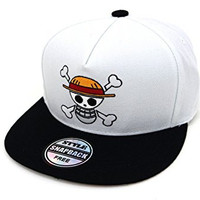 Muan One Piece Manga Luffy Flag Snapback Hat (2. White)