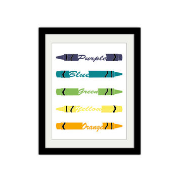 "Crayon Poster. Gift Idea for Teacher. Nursery Poster. Kids Bedroom Poster. Boy or Girl. Color Poster. 8.5x11"" Print"