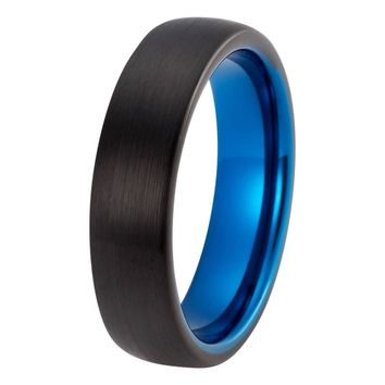 Black Blue Wedding Band Tungsten Carbide Domed Mens Wedding Band Brushed 6mm Tungsten Ring Man Engagement Ring Anniversary Promise Black Wedding Ring Matching Set Blue Ring Scratch Proof