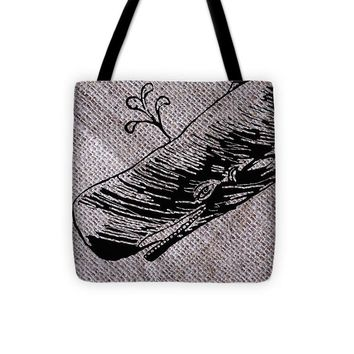 Whale On Burlap - Tote Bag