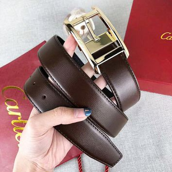 Cartier Fashion New Leather Women Men Leisure Belt Width 3.4 CM Coffee