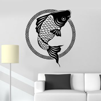 Vinyl Wall Decal Japanese Fish Carp Koi Asian Style Animals Stickers Unique Gift (1561ig)