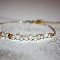 auriga - pearl 14k gold bracelet by lilla stjarna - gifts under 50 - Valentine's Day - pearl stacking bracelet - everyday bracelet