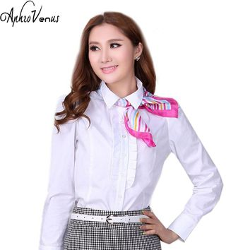 Womens tops Cotton Blouse Plus size White Chemisier Femme Manche Longue Zanzea Work Wear for Female Blusa Mujer Sping Winter Hot